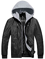 cheap -men's cotton padded faux leather jacket motorcycle winter coat black 2xl