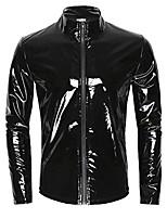 cheap -men's shiny metallic leather long sleeve stand collar lightweight outwear jacket coat (balck, m)