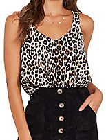 cheap -women sleeveless leopard print sling tank tops casual sleeveless t-shirt blouse vest camisole black