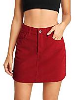 cheap -women's casual plain mid waist above knee pocket button short skirt red m