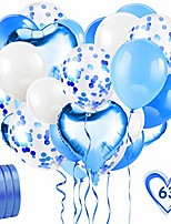 cheap -60pcs blue balloon set, foil balloons set with blue confetti balloons & ribbons for birthday, wedding, boys baby shower party, festival decorations, business event
