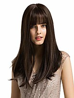 cheap -long dark brown wig for women - 20 inch natural straight hair middle part with air bang long synthetic wigs , party cosplay daily use