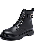 cheap -Women's Boots Flat Heel Round Toe Booties Ankle Boots British Daily Leather Solid Colored Black / Booties / Ankle Boots / Booties / Ankle Boots