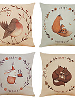 cheap -Set of 4 Cute Animal Linen Square Decorative Throw Pillow Cases Sofa Cushion Covers 18x18