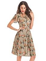 cheap -Women's A-Line Dress Short Mini Dress - Short Sleeve Floral Print Summer Square Neck Sexy Party Slim 2020 Blushing Pink Khaki S M L XL XXL