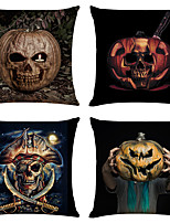 cheap -Set of 4 Pumpkin Halloween Linen Square Decorative Throw Pillow Cases Sofa Cushion Covers 18x18