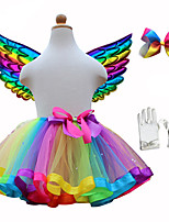 cheap -Princess Skirt Cosplay Costume Wings Girls' Movie Cosplay Tutus Festival / Holiday Rainbow Skirt Gloves Wings Christmas Halloween Carnival Polyester / Cotton Polyester / Bow