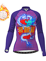 cheap -21Grams Women's Long Sleeve Cycling Jacket Winter Fleece Purple Yellow Dragon Bike Jacket Top Mountain Bike MTB Road Bike Cycling Fleece Lining Warm Sports Clothing Apparel / Micro-elastic