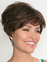 cheap -Synthetic Wig Curly Asymmetrical Wig Short Dark Brown Silver grey Synthetic Hair Women's Fashionable Design Cool Exquisite Silver Dark Brown