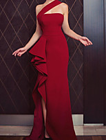 cheap -Sheath / Column Minimalist Sexy Wedding Guest Formal Evening Dress One Shoulder Sleeveless Asymmetrical Satin with Ruffles Split 2020