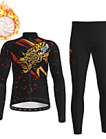 cheap -21Grams Men's Long Sleeve Cycling Jersey with Tights Winter Fleece Black Dragon Bike Fleece Lining Breathable Warm Sports Dragon Mountain Bike MTB Road Bike Cycling Clothing Apparel / Stretchy