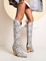 cheap -Women's Boots Cowboy Western Boots Chunky Heel Closed Toe Knee High Boots Vintage Sweet British Daily Walking Shoes Faux Leather Gleit Sequin Jeans Snake Dark Brown White Blue