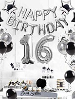 cheap -16th birthday decorations supplies silver – sweet silver 16 birthday party, number 16 balloon, happy birthday banner, cake topper, latex/confetti balloon, star balloon, sash for boy/girl 16 years old