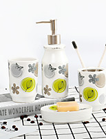 cheap -Bathroom Accessories Set 4 Piece Ceramic Complete Bathroom Set for Bath Decor Includes Toothbrush Holder Soap Dispenser Soap Dish Mouthwash Cup  Holiday Bathroom Decoration Gift Idea