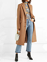 cheap -Women's Fall & Winter Single Breasted Coat Long Solid Colored Daily Basic Wool Camel S M L XL