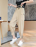 cheap -Women's Basic Breathable Slim Daily Harem Pants Solid Colored Ankle-Length High Waist Black Khaki