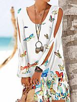 cheap -Women's A-Line Dress Short Mini Dress - Long Sleeve Print Patchwork Print Fall V Neck Work Casual Loose 2020 White Black S M L XL XXL