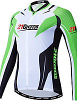 cheap -21Grams Men's Long Sleeve Cycling Jacket Winter Green Bike Jacket Mountain Bike MTB Road Bike Cycling Breathable Warm Sports Clothing Apparel / Stretchy