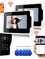 cheap -WIFI / Wired & Wireless Recording 7 inch Monitor with 1080P Camera Support Tuay APP Remote Control Motion Detector RFID and Password Unlock