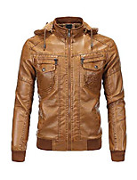 cheap -men's faux leather jacket moto hoodie jacket pu outwear warm jacket with removable fur hood brown s
