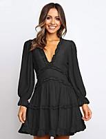 cheap -Women's A-Line Dress Short Mini Dress - Long Sleeve Solid Color Ruffle Spring Fall V Neck Sexy 2020 Black Blue Green Beige S M L XL