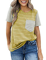 cheap -womens striped color block short sleeve summer blouse t shirt tops plus size 2x yellow