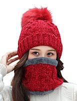 cheap -Women's Hiking Cap Beanie Hat 1 set Winter Outdoor Windproof Warm Soft Thick Neck Gaiter Neck Tube Skull Cap Beanie Solid Color Polyester Taffeta Burgundy Grey Khaki for Fishing Climbing Running