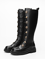 cheap -Women's Boots Riding Boots Block Heel Square Toe Knee High Boots Casual Basic Daily Walking Shoes PU Solid Colored Black