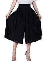 cheap -women's high elastic waist pleated chiffon wide leg capri pants culottes  medium  black