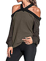 cheap -women off the shoulder tops spaghetti halter blouse long sleeve casual shirt coffee m