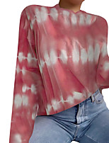 cheap -Women's T-shirt Tie Dye Long Sleeve Print Round Neck Tops Basic Basic Top Red Blushing Pink Green