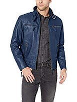 cheap -men's trim fit cow leather jacket heritage look, blue, medium