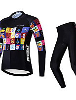 cheap -21Grams Women's Long Sleeve Cycling Jersey with Tights Winter Fleece Polyester Black Bike Clothing Suit Fleece Lining Breathable 3D Pad Warm Quick Dry Sports Graphic Mountain Bike MTB Road Bike