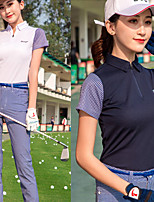 cheap -Women's Golf Polo Shirts Short Sleeve Breathable Quick Dry Soft Sports Outdoor Autumn / Fall Spring Summer Cotton Half Zip White Pink Royal Blue / Stretchy
