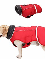 cheap -reflective dog winter jacket, cold weather dog coats with furry collar, soft waterproof windproof pet warm vest apparel for small medium large dogs