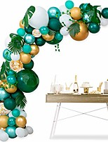 cheap -safari jungle theme party supplies - balloon arch kit garland decorations - 118 pcs green gold metallic white balloons with palm leaves 16ft, baby shower, birthday boy & girl party backdrop diy