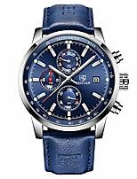 cheap -original quartz mens watch unique sport watches for men causal wrist watch men leather waterproof watch, luminous hands, chronograph, calendar, outdoor, gifts (blue silver)