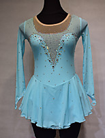cheap -Figure Skating Dress Women's Girls' Ice Skating Dress Sky Blue Spandex High Elasticity Training Competition Skating Wear Handmade Solid Color Crystal / Rhinestone Long Sleeve Ice Skating Winter
