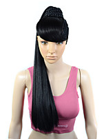 cheap -Synthetic Wig Natural Straight With Bangs With Ponytail Wig Long Natural Black #1B Synthetic Hair Women's Soft Fashion Exquisite Black