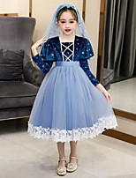 cheap -Princess Cosplay Costume Masquerade Girls' Movie Cosplay A-Line Slip Vacation Blue Dress Halloween Children's Day Masquerade Organza Cotton