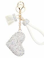 cheap -keychain heart rhinestone keychains with tassel-white