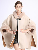 cheap -Long Sleeve Capes Faux Fur Wedding / Party / Evening Shawl & Wrap / Women's Wrap With Split Joint / Solid