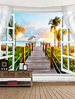 cheap -Window Landscape Wall Tapestry Art Decor Blanket Curtain Picnic Tablecloth Hanging Home Bedroom Living Room Dorm Decoration Polyester Sea Ocean Beach Palm Pier