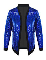 cheap -mens cardigan all over sparkle sequin open front long sleeve jacket with ribbed cuffs (black 1, medium)
