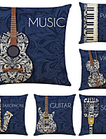 cheap -Set of 6 Artistic musical instrument Linen Square Decorative Throw Pillow Cases Sofa Cushion Covers 18x18