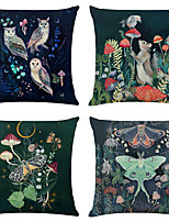 cheap -Set of 4 Personality Animal Linen Square Decorative Throw Pillow Cases Sofa Cushion Covers 18x18