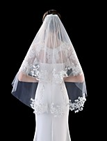 cheap -Two-tier Flower Style / Basic Wedding Veil Fingertip Veils with Appliques 31.5 in (80cm) Tulle