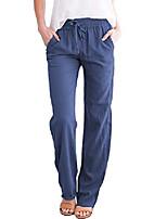 cheap -women's drawstring linen pants elastic waist loose fit summer trousers (blue, small)