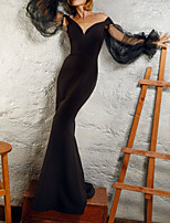 cheap -Mermaid / Trumpet Empire Sexy Wedding Guest Formal Evening Dress V Neck Long Sleeve Floor Length Satin with Sleek 2020