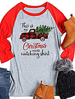 cheap -women funny this is my christmas movie watching t shirt red truck christmas tree funny 3/4 sleeve tee tops (medium, gray+red)
